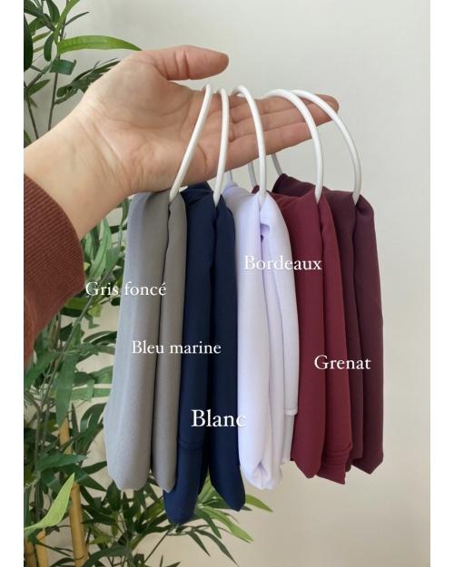 Lot de hijab mousseline de soie Grenat, Rouge bordeaux, Blanc, Bleu marine et Gris foncé