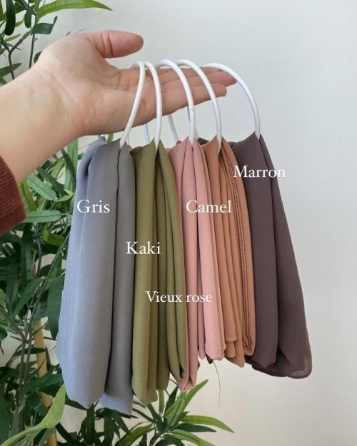 Lot Hijab Mousseline de Soie Marron, Camel, Vieux rose, Kaki et Gris foncé