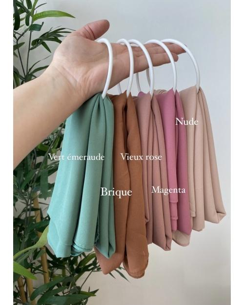 Lot de hijab Mousseline de soie, Nude, Vieux rose, Brique? Magenta et Vert émeraude.