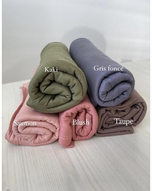 Lot hijab Jersey Blush, saumon, Taupe, Gris Foncé, Vert kaki