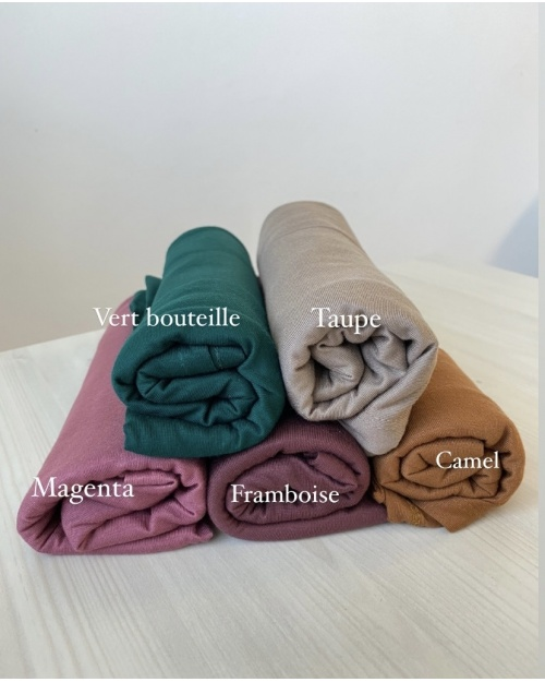 Lot hijab Jersey Moutarde, Vert Bouteille, Magenta, Framboise et Taupe.