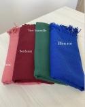 Lot de 4 Hijab Pashmina Rose, Rouge bordeaux, Vert Bouteille et Bleu électrique
