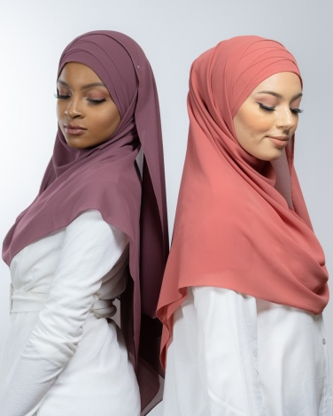 Hijab à enfiler entièrement Mousseline corail