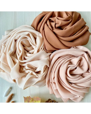 Hijab mousseline de soie nude