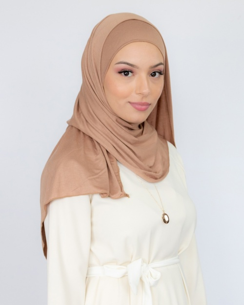 Hijab à enfiler jersey nude 4