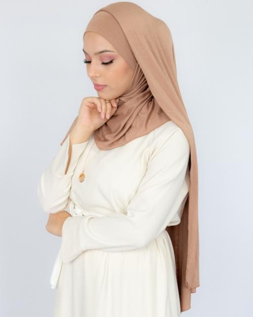 Hijab à enfiler jersey nude 2
