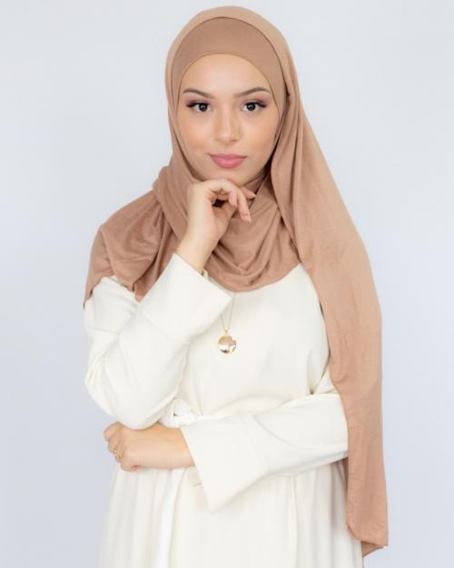 Hijab à enfiler jersey nude 3