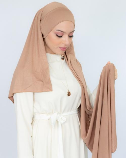 Hijab à enfiler jersey nude 1